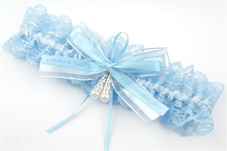 Svadobný podväzok - modrý