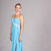 Elegantné modré spoločenské šaty